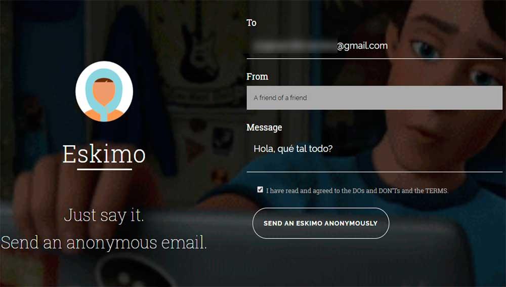 La herramienta de correos anónimos Eskimo
