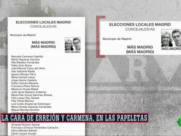 Las caras de Carmena y Errejón serán el logo de las papeletas de Más Madrid en las elecciones del 26M