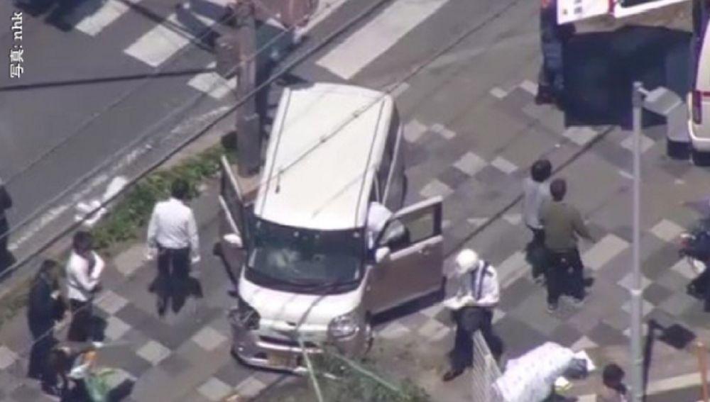 Imagen del coche accidentado en la ciudad de Otsu, Japón.