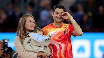 David Ferrer, acompañado por su mujer en su despedida del tenis profesional