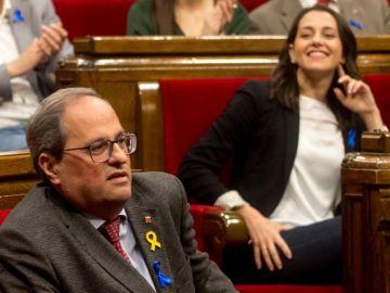 Quim Torra e Inés Arrimadas en el Parlament catalán