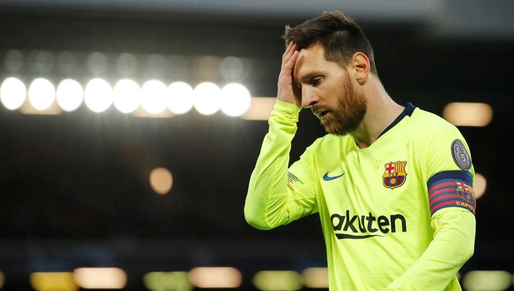 Leo Messi, durante el partido contra el Liverpool