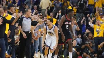 Klay Thompson, en acción ante los Rockets