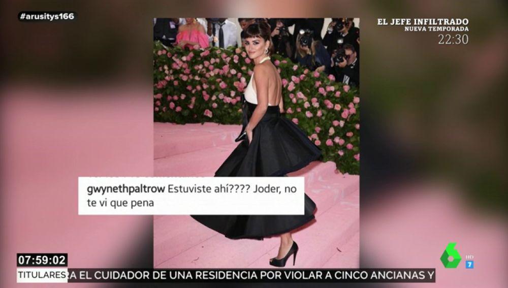 """El comentario de Gwyneth Paltrow a Penélope Cruz que sorprende a los internautas: """"¿Estuviste ahí? No te vi, qué pena"""""""