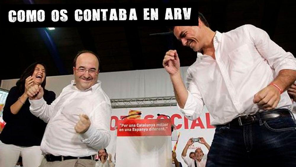 Miquel Iceta y Pedro Sanchez en un acto del PSC