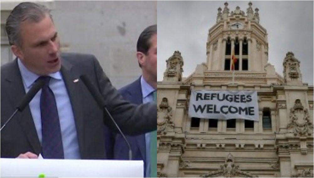 Ortega Smith (izquierda) y Ayuntamiento de Madrid con el cartel de 'Refugees welcome' a la derecha