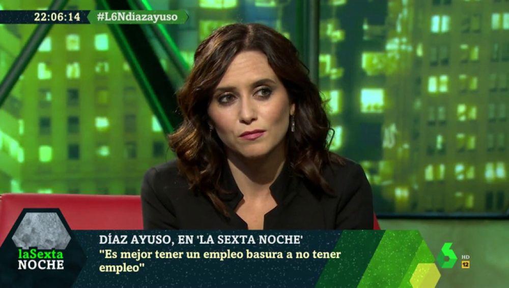 Isabel Díaz Ayuso, en laSexta Noche