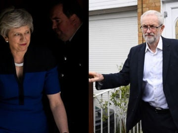 Theresa May y Jeremy Corbyn en fotos de archivo