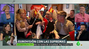 Luis Troya con las Supremas de Móstoles viendo la gala de Eurovisión