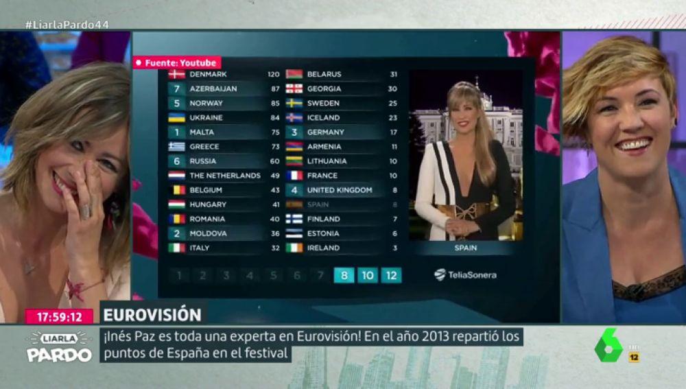 """Así dio Inés Paz los puntos de España en Eurovisión 2013: """"Tienes mejor inglés que Ana Botella"""""""