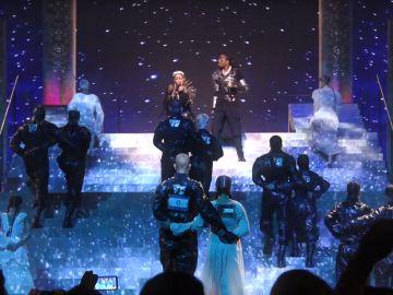 Banderas de Israel y Palestina unidas en la actuación de Madonna