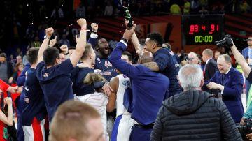 Los jugadores del CSKA celebran la Euroliga