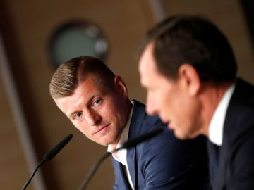 Toni Kroos, en la sala de prensa del Bernabéu