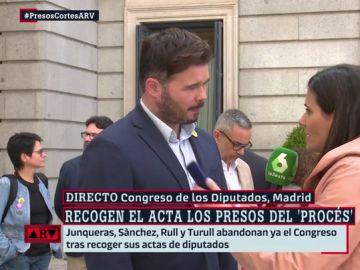 """Gabriel Rufián, sobre el dispositivo policial por la presencia de los presos independentistas en el Congreso: """"Parece que viene Pablo Escobar"""""""