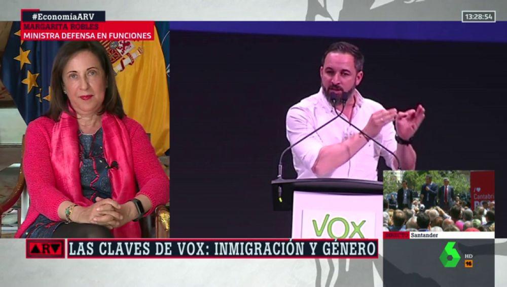 """Margarita Robles responde al llamamiento de Vox para usar la Legión en """"en las fronteras"""": """"Sería bueno que Abascal se leyera la Constitución"""""""