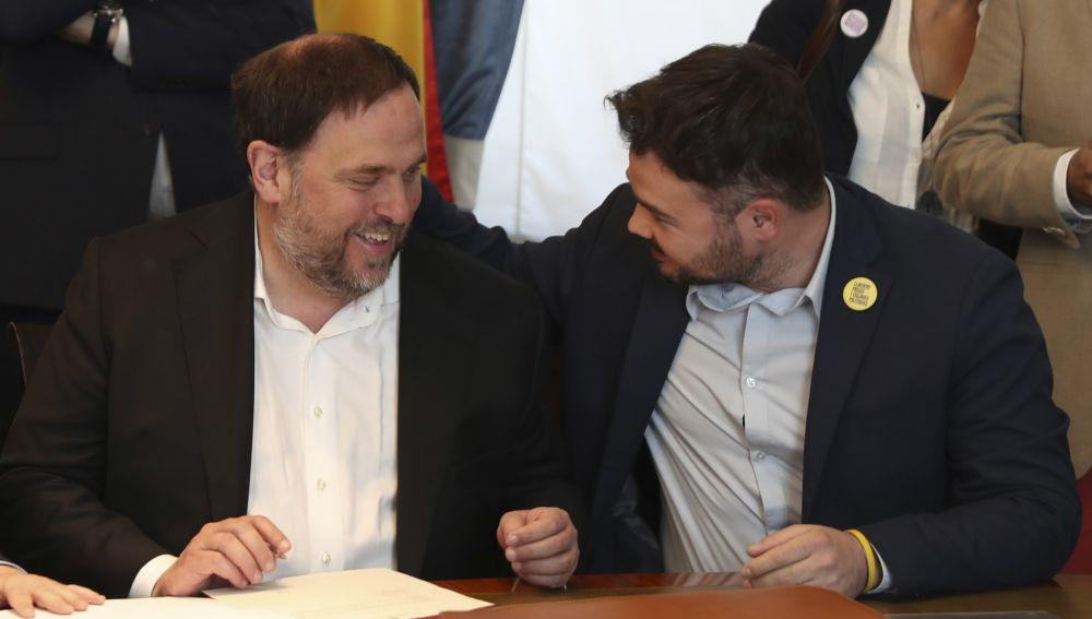 Oriol Junqueras y Gabriel Rufián, en el Congreso