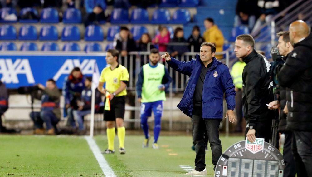 Eusebio Sacristán, durante un partido del Girona