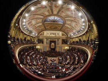 Vista general del hemiclíco del Congreso de los Diputados donde hoy se celebra la sesión constitutiva de las nuevas Cortes Generales