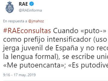 El tuit en el que la RAE explica el uso correcto de 'puto'