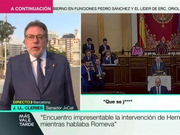 """Josep Lluís Cleries (JxCat): """"Rafael Hernando tiene poco respeto democrático utilizando su cargo para interrumpir a otro senador"""""""