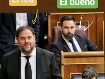 Vox se mofa de Oriol Junqueras y Pedro Sánchez con esta foto de su estreno en el congreso