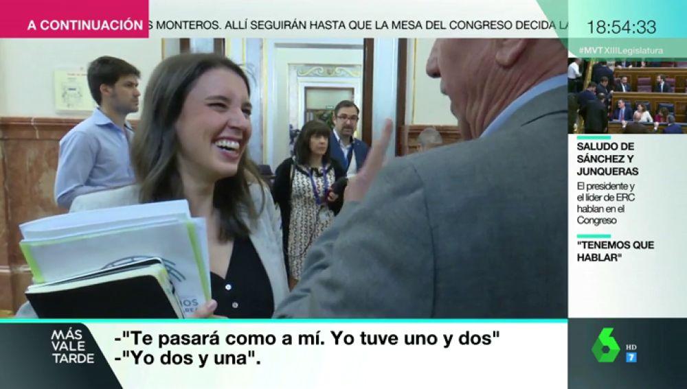 """La divertida conversación de Joan Baldoví e Irene Montero sobre su embarazo: """"Si te parece he cogido unos kilitos"""""""