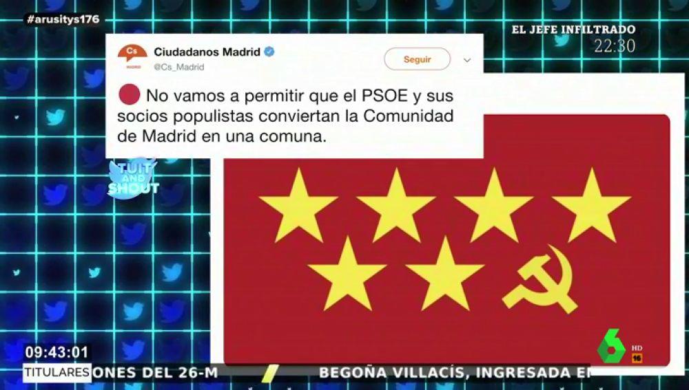 """Las redes 'trolean' a Ciudadanos por su campaña contra la """"comuna"""" de PSOE y Podemos"""