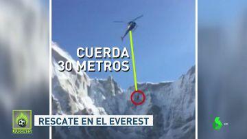 Sobrecogedor rescate con una soga de 30 metros a un montañero en el Everest
