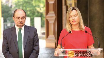 Pilar Alegría, junto a Javier Lambán, en una imagen de archivo