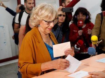 La alcaldesa de Madrid y aspirante a la reelección de Más Madrid, Manuela Carmena
