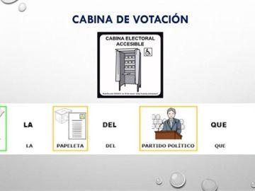 El colegio de Boiro ha situado un pictograma informativo y otros gráficos de apoyo