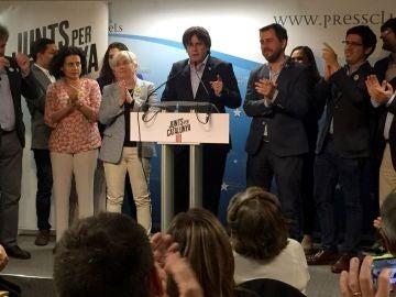 El cabeza de lista de JxCat al Parlamento Europeo, Carles Puigdemont, valora los resultados obtenidos en las elecciones