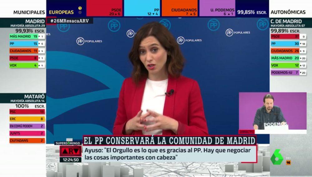 """Isabel Díaz Ayuso no moverá la fiesta del Orgullo aunque lo pida Vox: """"Ha llegado a ser lo que es gracias al PP"""""""