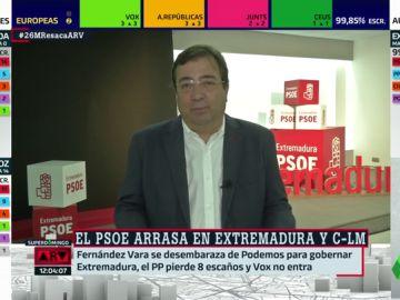 """Fernández Vara celebra su victoria en Extremadura: """"Le debía al PSOE  una gran victoria por mayoría absoluta"""""""