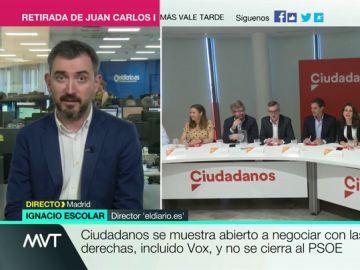 """Ignacio Escolar, sobre los posibles pactos entre Ciudadanos y PSOE: """"Le mancha Vox y ser socio de la extrema derecha en administraciones"""""""