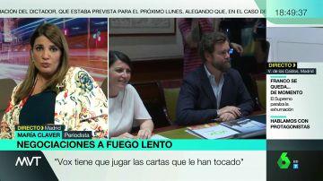 """María Claver valora el 'rifirrafe' que mantiene Ciudadanos con la formación de Abascal: """"Vox hará ruido, pero acabará cediendo"""""""
