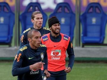 Neymar, en un entrenamiento de Brasil