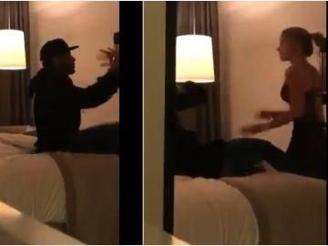 Neymar y la modelo Najila Trindade en un hotel