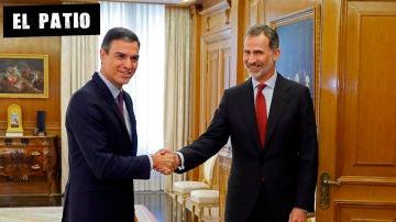 Pedro Sánchez al llegar a la consulta con el rey