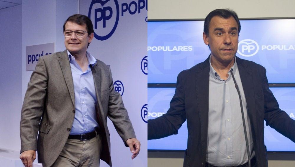El presidente del PP en Castilla y León, Alfonso Fernández Mañueco, y el excoordinador general del partido, Fernando Martínez Maíllo