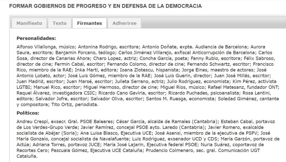 """Parte del manifiesto por """"gobiernos de progreso"""""""