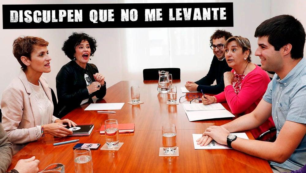 La secretaria general del PSN y candidata a la Presidencia, María Chivite en una reunión para tratar de forma gobierno.