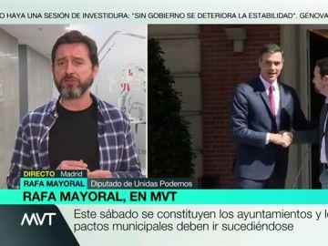 """Rafael Mayoral (Unidas Podemos): """"No me cabe en la cabeza que el PSOE pueda gobernar en solitario, con 123 diputados y sin hablar con nadie"""""""