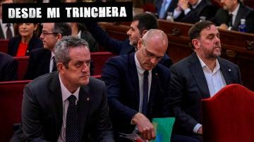 """El exconsejero de Interior Joaquim Forn, junto al resto de los acusados durante el juicio del """"proces""""."""