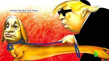 Viñeta de Donald Trump y Benjamin Netanyahu del New York Times