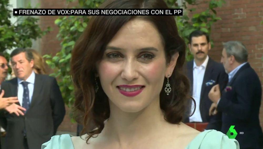 """Isabel Díaz Ayuso resta importancia al frenazo de las negociaciones con Vox: """"Estamos en una situación normal"""""""