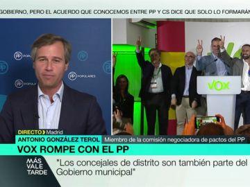 """González Terol (PP), sobre las negociaciones con Vox: """"Alcanzamos un acuerdo programático, quedan 20 días para hablar de las sillas"""""""