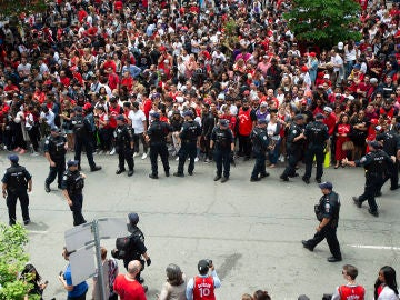Imagen de la celebración de los Raptors por el título de la NBA