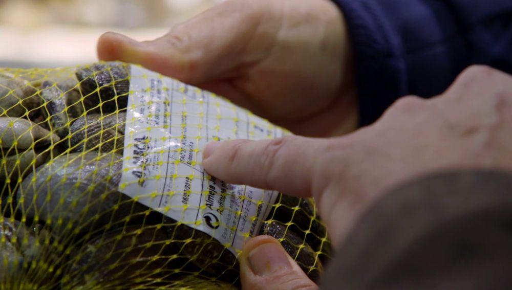 Etiqueta del marisco que se vende en Galicia