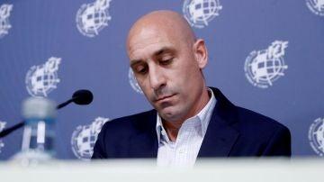 Luis Rubiales, durante la rueda de prensa en la que se ha anunciado el cese de Luis Enrique